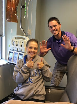 Whitney and Billy Hoffer at one of Whitney's cancer treatments.