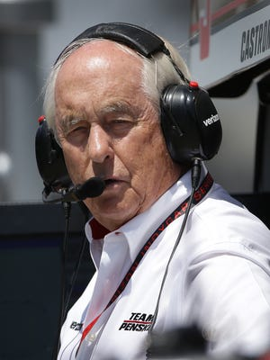 Team owner Roger Penske looks on from the pit box during practice for the Indianapolis 500 Tuesday, May 16, 2017, afternoon at the Indianapolis Motor Speedway.
