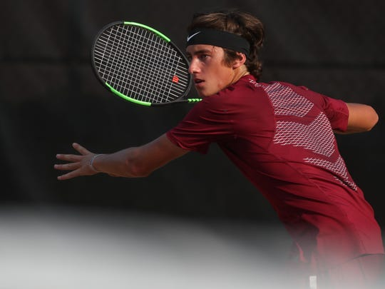 FSU's Alex Knaff eyes a forehand against Alabama State during the NCAA Tallahassee Regional at the Scott Speicher Tennis Center on Friday May 11, 2018.