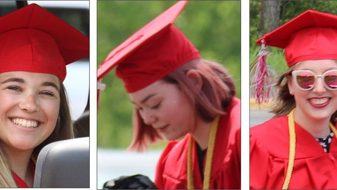Lacey Schmidt (left), Trinity Milne and Abby Gilk encouraged and challenged their fellow graduates in a speech about the future.