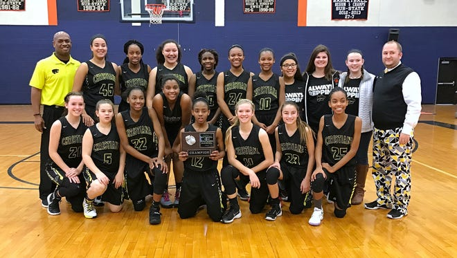The Christiana Middle School girls basketball team recently won the TMSAA state championship.