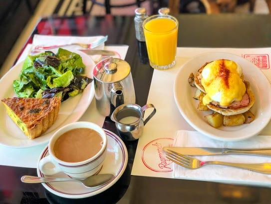 Raymond's quiche and eggs Benedict