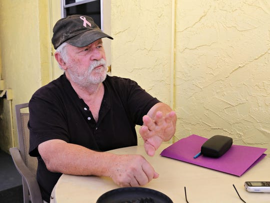 Roger Comeau, who owns a park home at Tempe Travel Trailer Villa discusses the impending eviction of the RV Park's residents to make way for a 423 unit apartment complex along Apache Blvd. as seen in Tempe on June 11, 2015