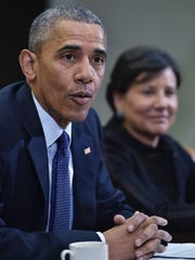 President Barack Obama and Commerce Secretary Penny Pritzker following a meeting of his economic team at the White House on March 4, 2016.