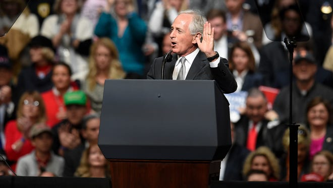 March 15, 2017: U.S. Sen. Bob Corker tells the crowd there will be a delay to the start of a rally for President Donald Trump at the Municipal Auditorium in Nashville.