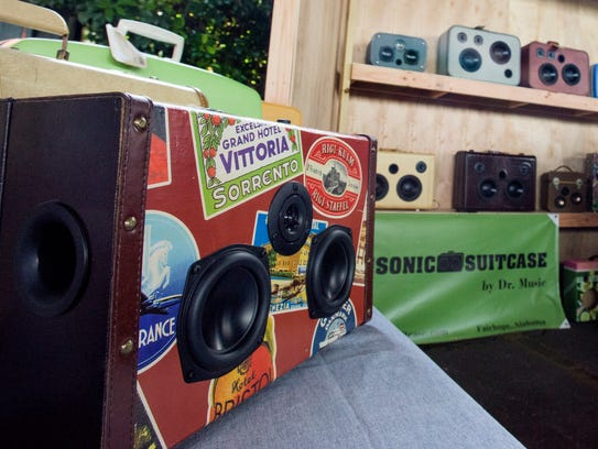 Sonic suitcases are displayed at the Southern Makers