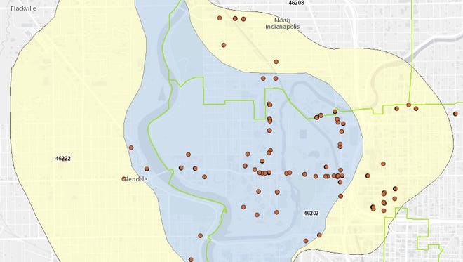 This map shows the area in Indianapolis' northwest side that the Indiana Department of Environmental Management is investigating for groundwater contamination. The dots represent potential sources of contamination.