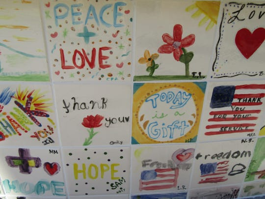 Tiles created by children of Coachella Valley on the Veterans Fountain