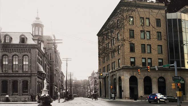 "This composite image shows the corner of Ithaca's Seneca and Tioga streets in the late 19th century and in 2016. It is part of ""The Altered and Preserved Landscape"" exhibit at The History Center."