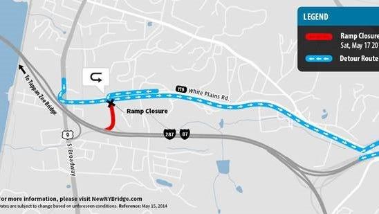 Tappan Zee Bridge construction detour map