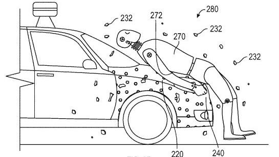 """Google has a patent for """"Pedestrian Glue,"""" designed to keep pedestrians from falling under the vehicle if they are hit by a self-driving car."""
