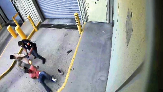 A still from the video released by the city of El Paso of the fatal police shooting of bodybuilder Daniel Saenz.