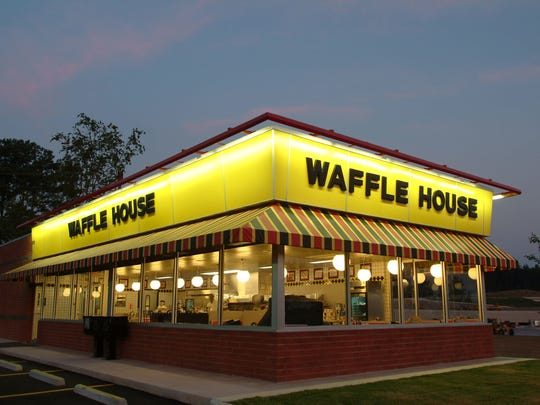A Waffle House store front.