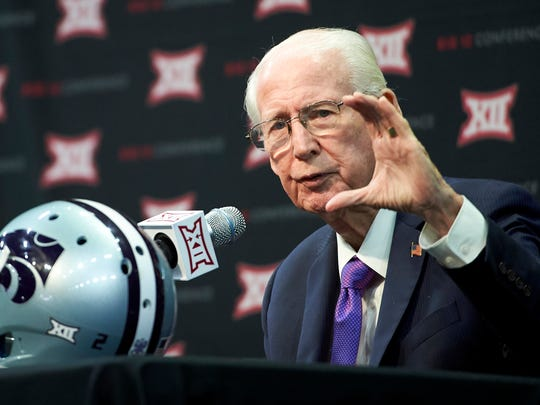 Kansas State football coach Bill Snyder speaks during Big 12 media days in Frisco, Texas, Tuesday, July 17, 2018.