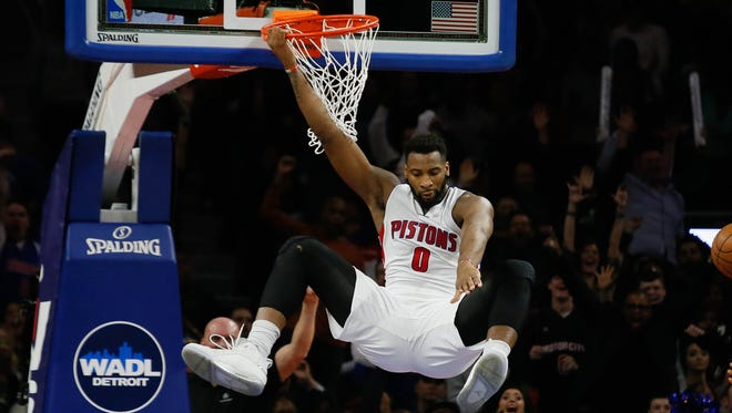 Detroit Pistons center Andre Drummond dunks against the Golden State Warriors at the Palace of Auburn Hills on Jan. 16, 2016.