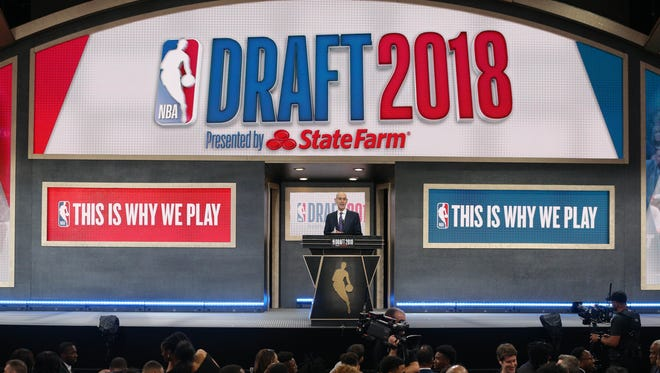 Jun 21, 2018; Brooklyn, NY, USA; NBA commissioner Adam Silver speaks during the first round of the 2018 NBA Draft at the Barclays Center. Mandatory Credit: Brad Penner-USA TODAY Sports