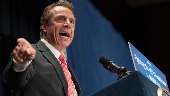 New York Governor Andrew Cuomo speaks during a rally in support of the Affordable Care Act and against the Senate replacement bill, Monday, July 17, 2017, in New York.