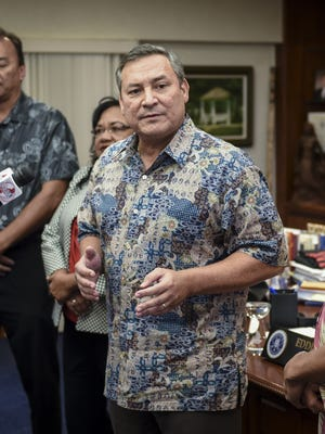 A federal appeals court has denied a request from the Calvo administration for a rehearing of a case regarding the issuance of tax refunds. In this Sept. 18 photograph, Gov. Eddie Calvo announces to the media that the Department of Administration will release about $54 million in tax refunds over the next few days.