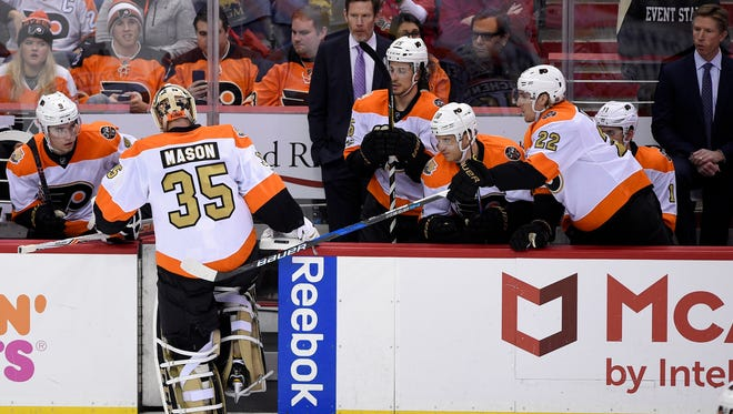 Steve Mason was pulled in the third period of the Flyers' latest loss Sunday in Washington.