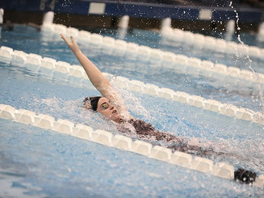 Backstroke is just one of the events Peyten Lyons is thriving in for the Ursinus College swim team.