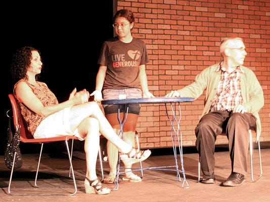 """HIn a rehearsal for the short play """"17 Minutes,"""" a defiant teenager (Mia Rascon) argues with her mother (Rachel Connelly) and father (Perry Lawson)."""