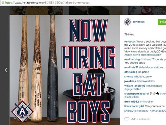 The Reno Aces promoted that it's hiring bat boys on Instagram.