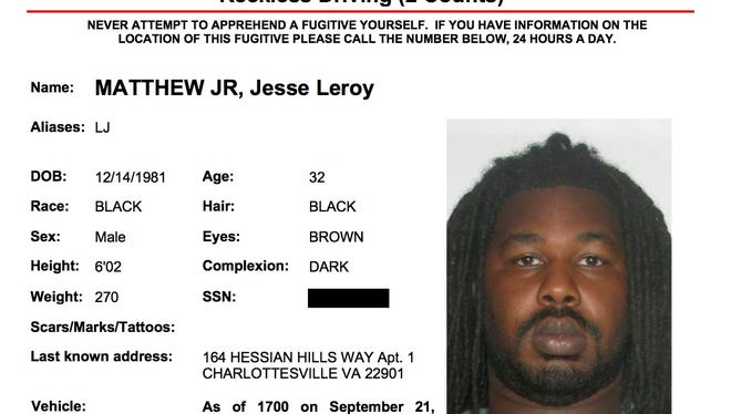 Wanted poster for Jesse Matthew from the Charlottesville Police Department.