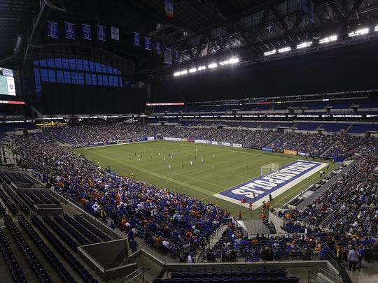 The Indy Eleven play FC Cincinnati in the second half of their game at Lucas Oil Stadium on Saturday, March 31, 2018. FC Cincinnati defeated the Indy Eleven 1-0.