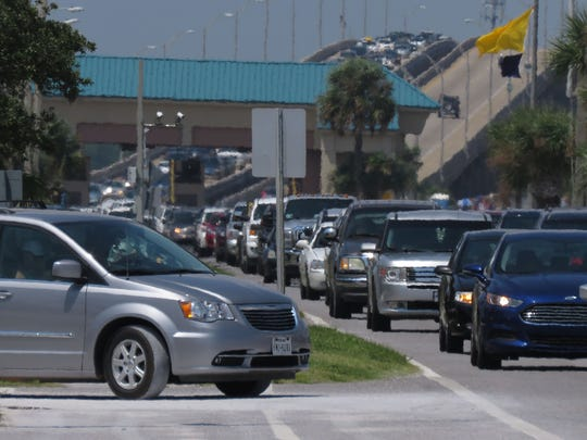 Traffic congestion is pictured on Pensacola Beach.