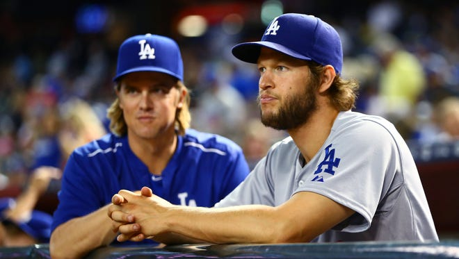 Clayton Kershaw (right) and Zack Greinke were teammates in 2015.