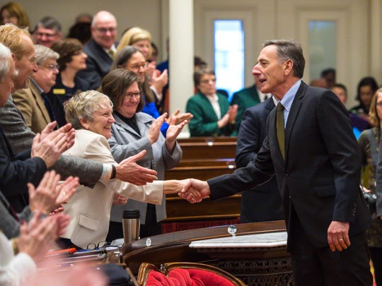 Gov. Peter Shumlin enters the House of Representatives before delivering his farewell address on the opening day of the Legislature at the Statehouse in Montpelier on Wednesday, January 4, 2017