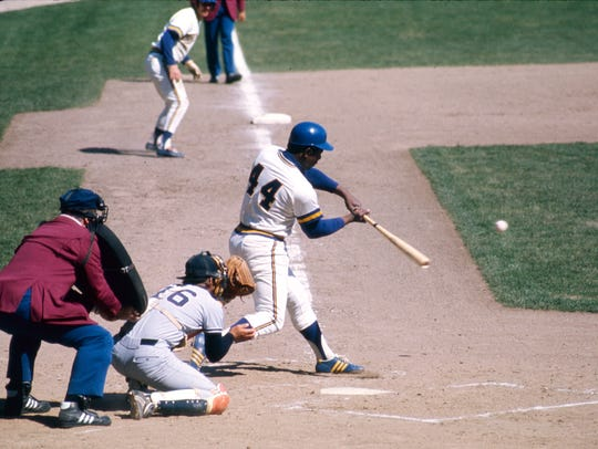 Hank Aaron played at Milwaukee's County Stadium both as a Milwaukee Brewer and a Milwaukee Brave.