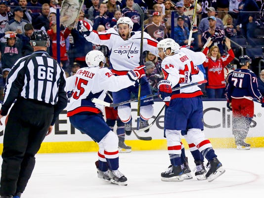 d549ba55192 GTY 947960726 S HKN USA OH. The Washington Capitals celebrate after beating  the Columbus Blue Jackets ...