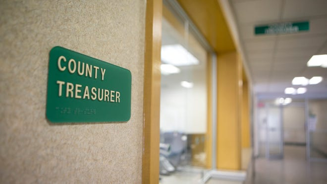 The Portage County Treasurer's office in the County-City Building in Stevens Point, Thursday, Oct. 15, 2015.