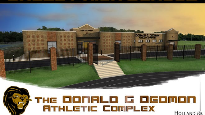 An artist's rendering of the Donald G. Dedmon Athletic Complex planned for the Shelby High School campus.