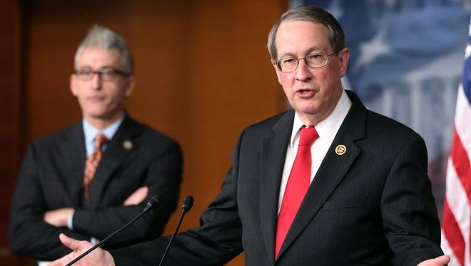 Rep. Bob Goodlatte (R-Va.) (R), chairman of the House Judiciary Committee, and Rep. Trey Gowdy (R-S.C.) talk to reporters on Capitol Hill, April 25, 2013 in Washington.