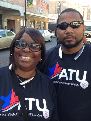 Antonette Bryant, an Amalgamated Transit Union international representative, and Darnice Briggs, president of the union's Local 981 in Alexandria, talk about their efforts to increase transit funding. They were among ATU members holding a rally in Alexandria.