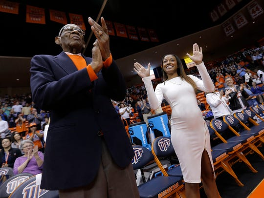 Former UTEP great Jeep Jackson's daughter waves to