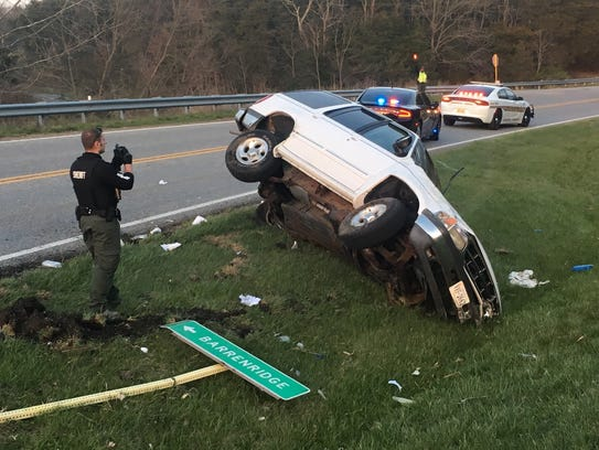 A stabbing suspect wrecked a Ford Explorer on Tuesday