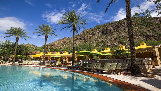 This is the infinity pool with cabanas at the Canyon Suites at The Phoenician, Friday, August 26, 2016.