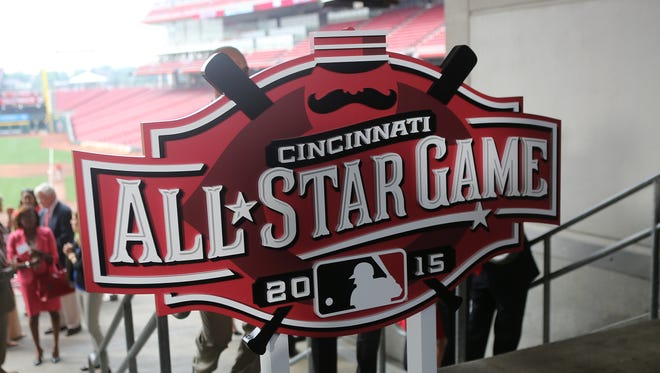 The 2015 All-Star game logo at the Great American Ball Park on Wednesday, Aug. 6, 2014.
