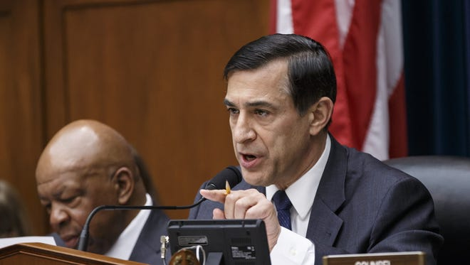 House Oversight Committee Chairman Rep. Darrell Issa, R-Calif., continues his probe of whether tea party groups were improperly targeted for increased scrutiny by the Internal Revenue Service, on Wednesday, March 26, 2014, during a hearing on Capitol Hill in Washington.