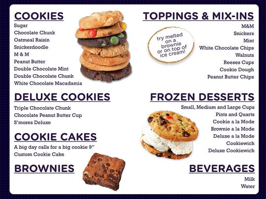 Here's a sample menu of what Insomnia Cookies will offer.