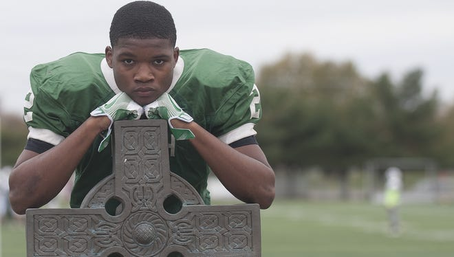 Just a freshman, middle linebacker Tirek Austin-Cave is Camden Catholic's second leading tackler.