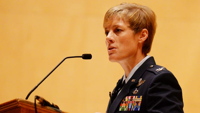 Col. Kristin Goodwin announced she's leaving the 2nd Bomb Wing at Barksdale Air Force Base during The Greater Shreveport Chamber of Commerce annual meeting Thursday.