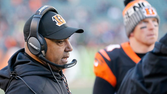 Cincinnati Bengals head coach Marvin Lewis stands by on the sideline in the fourth quarter of the NFL Week 14 game between the Cincinnati Bengals and the Chicago Bears at Paul Brown Stadium in downtown Cincinnati on Sunday, Dec. 10, 2017. The Bengals fall to 5-8 with a 33-7 loss to the Bears.