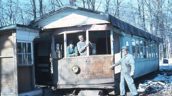"""Joel Salomon: """"After the trolley operations were over in York (in 1939), trolley car 163 was stripped of all seats and running gear and the body was transformed into a summer home north of York along the Conewago Creek. Here the car was positioned until it was flooded by Hurricane Agnes in 1972. The car was completely flooded and it was no longer wanted by the owners."""""""
