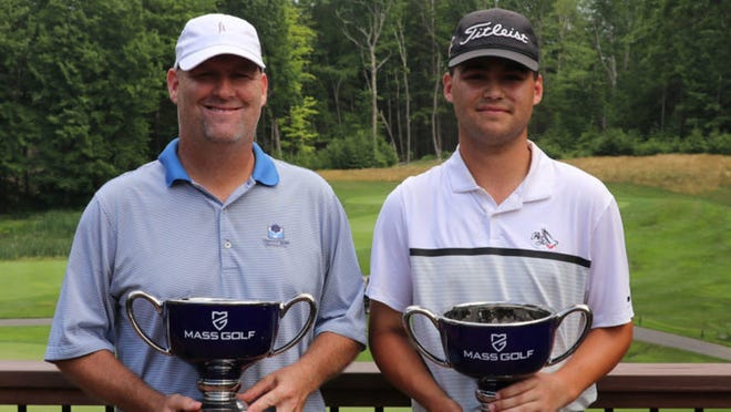 From left, Jack and Brendan Hester of Pleasant Valley CC won the junior division of the Massachusetts Father & Son Championship in a playoff.