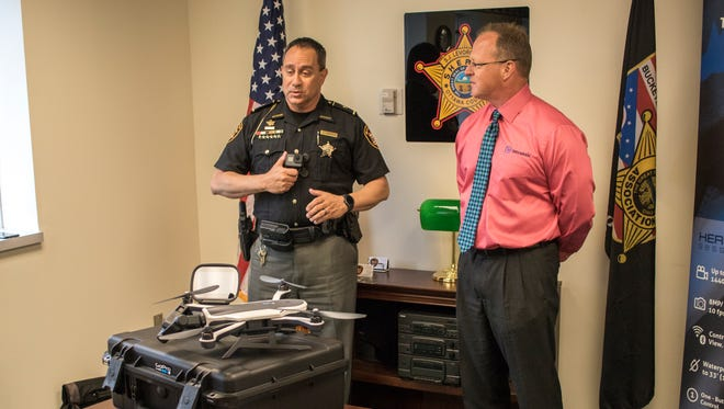 Ottawa County Sheriff Steve Levorchick was presented with a complimentary drone, a GoPro Karma, fitted for law enforcement use by Intrensic CEO Kevin Mullins, who provides the department with its fleet of GoPro body-worn cameras.