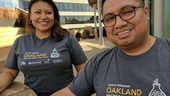 Venture capitalist CarolinaHuaranca, left, organized a start-up weekend in Oakland, Calif., for Latinos to encourage more of them to become entrepreneurs. Her  brother AJ Huaranca, right, is a software engineer who flew out from New York for the event.
